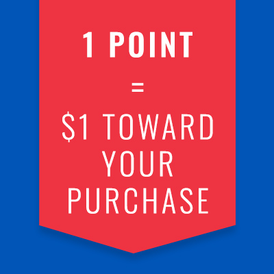1 point = $1 toward your purchase